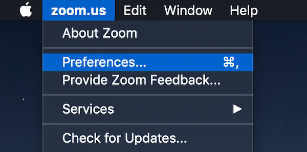Screenshot of Zoom preferences menu