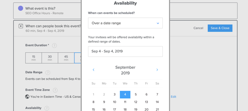 Screenshot of Calendly date range