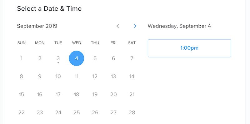 Screenshot of Calendly calendar