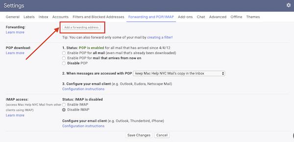 Screenshot of Gmail forwarding settings