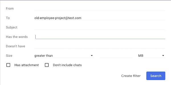 Screenshot of Gmail filter settings