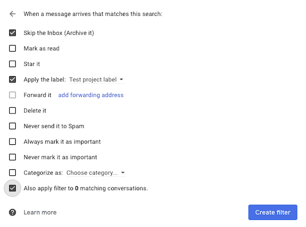 Screenshot of Gmail inbox trick