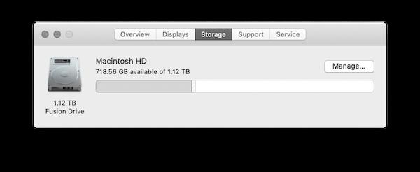 Screenshot of Mac free space
