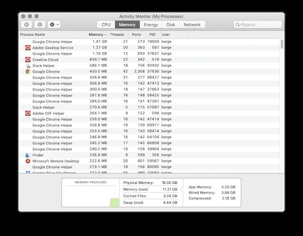 Screenshot of Mac activity monitor