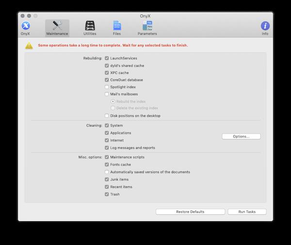 Screenshot of Onyx detail settings