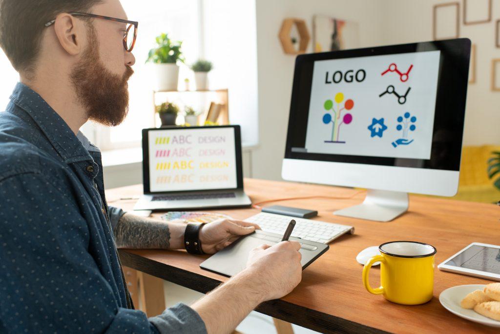 designer working on website graphics